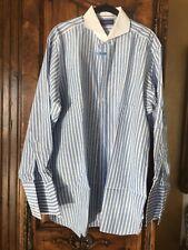 Ralph Lauren Blue Stripe Mens Shirt Size 17 100% Cotton