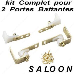 Kit Charnieres à Pivot pour 2 Portes Battante SALOON, Western ,Ranch (avec Vis)
