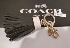 NWT COACH BLACK W/WHITE LEATHER TASSEL BAG CHARM KEY RING CHAIN FOB CHARM 58505