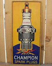 New Champion Spark Plug Embossed Metal Vintage Style Sign Garage Man Cave Auto