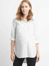 NWT L White GAP Maternity Tailored Poplin Tunic Shirt