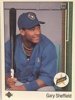 1989 Upper Deck Gary Sheffield Baseball Card Brewers Mint #13 Marlins Yankees Of