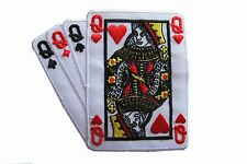 #2524A Poker Card Hand 4 Queen Embroidery Iron On Applique Patch
