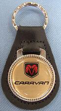 Vintage Gold Dodge CARAVAN Leather USA Keyring 2008 2009 2010 2011 2012 2013