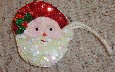 Christmas Santa Claus Sequined Small Coin Purse Pouch with Silk Cord Strap