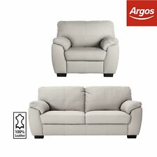 Argos Home Milano 3 Seat Leather Sofa and Chair - Light Grey