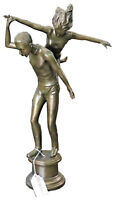 EARLY 20TH CENTURY PAIR OF GYMNASTS BRONZE SCULPTURE
