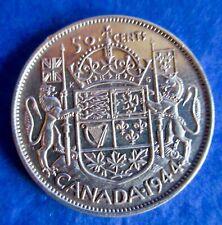 1944 Canada Silver 50 Cents Coin George VI