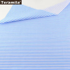 Teramila Cotton Fabric Printed Blue Strips 50cmx160cm Twill Patchwork Tecido