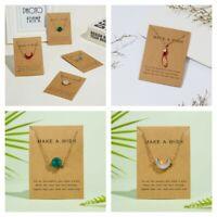 Moon Jewelry Natural Stone Chain Choker Pendant Necklace Card Women Waterdrop