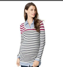 MOTHERHOOD OH BABY MATERNITY BLUE STRIPE MOCK LAYER SWEATER -SIZE LARGE-