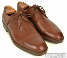 GRAVATI Solid Brown Leather Mens Oxford Derby Dress Shoes - 10.5 M