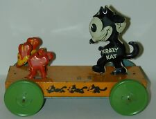 Krazy Kat Lithographed Tin Platform Pull Toy With Squeaker J. Chein & Co. 1932