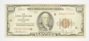 Rare 1929 $100 National Currency Cleveland, OH Fed Reserve Bank Brown Seal *914