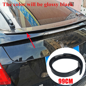 Universal 99cm Glossy Black PU Car Rear Roof Trunk Spoiler Wing Lip Sticker Kit