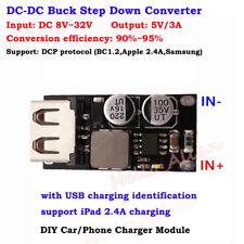 3A USB DC-DC Buck Step Down Converter DC 8V 12V 24V 32V to 5V DIY Phone Charger