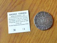 Antica Moneta ZECCA CUNEO 1307 GROSSO TORNESE CARLO II D' ANGIO' ARGENTO 800
