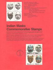 #8018 15c Indian Masks Stamps - Scott #1834-1837 USPS Souvenir Page