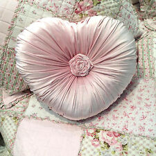 Girly Shabby French Country Heart Velvet Pink Rosette Princess Bed Sofa Cushion