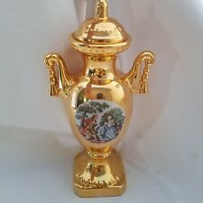 Vintage Hand Decorated Bright 22K Gold USA Victorian Urn With Lid Ceramic
