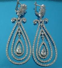 925 Sterling Silver Stylish Heavy  CZ Dangle/Drop Earrings  Bridal Jewellery