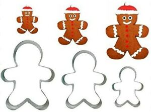 STAINLESS STEEL BISCUIT PASTRY CUTTER SET 3 GINGERBREAD MAN SILVER COOKIE CAKE