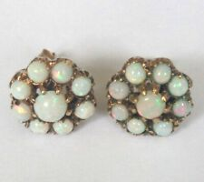 Pretty 9ct Gold Opal Flower Earrings