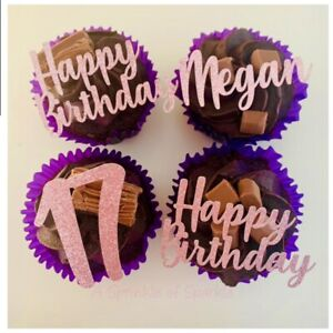 PERSONALISED HAPPY BIRTHDAY NAME AGE GLITTER CUPCAKE TOPPERS PICKS CAKE TOPPER