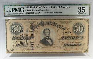 1864 $50 Confederate Civil War Banknote w/ Rare 1876 Advertisement PC-295