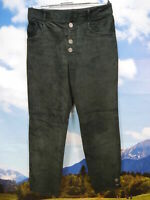 Recht gut erhalten 2 Knöpfe fehlen schwarz lang leicht Trachten Lederhose Gr.48