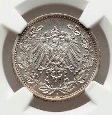 1918 A German Empire 1/2 Silver Mark NGC MS67 A PREMIUM GEM, SPOTLESS