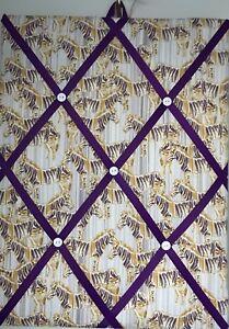 Hand Made Fabric Notice Board In A Zebra Fabric