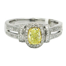 18K WHITE GOLD PAVE DIAMOND & FANCY YELLOW OVAL DIAMOND HALO ENGAGEMENT RING