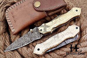 HUNTEX Custom Handmade Damascus 110 mm Long Hunting Folding Pocket Spear Knife