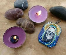 Hand Painted Pendant Necklace Lapis Lazuli With La Santa Muerte Day Of The Dead