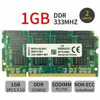 Par Kingston 2Go 2x 1Go PC-2700 333MHz DDR1 KVR333X64SC25/1G portable Memoria FR