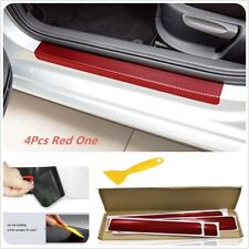 4PC 3D Carbon Fiber Red Car Plate Door Sill Scuff Sticker Anti-kick Scratch New