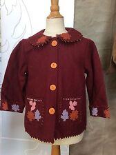 Toddler Girl FELTED WOOL AUTUMN LEAVES Jacket Coat 3-4 CORNELLOKI April Cornell