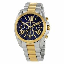NWT Michael Kors Womens Chronograph Bradshaw Blue Dial Two-Tone Watch MK5976 NEW