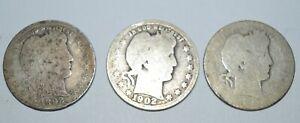 3 Barber Quarter Dollars US Coins Silver 1892 P 1902 P 1 Unreadable