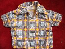 sz 2t 2 True Vtg 70s Boys BLUE WILD PLAID PRINT CAMP SUMMER Ultra thin Shirt