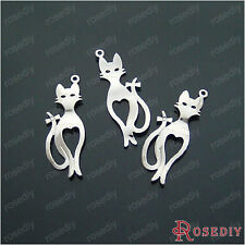 (15085)50PCS 30*10MM Imitation Rhodium Copper Cat Charms Diy Jewelry Findings