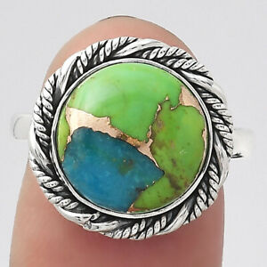 Blue Turquoise In Green Mohave - USA 925 Sterling Silver Ring s.8 Jewelry E896