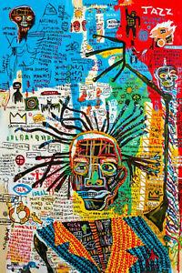 "jean michel basquiat art jazz CANVAS WALL ART ""20x30"" inches FRAMED"