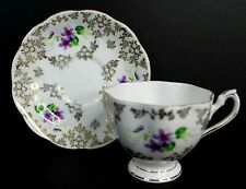 Queen Anne Vintage Bone China Tea Cup and Saucer Gold Flowers England 5986