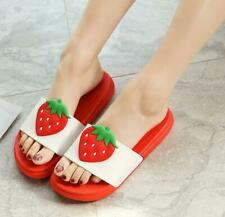 Cute Strawberry Women Summer Outdoor Home Bathroom Slippers Shoes (US size 5-8)