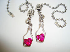 A Pair Of Rose Heart Crystal In A Bottle Ceiling Fan Light or Lamp Pull Chains