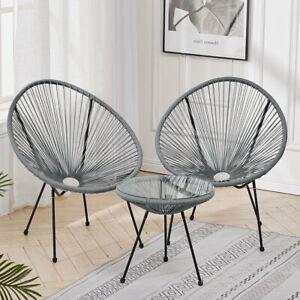 Rattan Upholstered Chair Balcony Sun Lounger Garden Bistro Table&2 Egg Chair Set