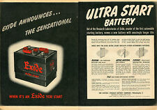 1951 Exide Ultra Start 2 Page Car Battery Print Ad