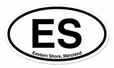 "ES Eastern Shore Maryland Oval car window bumper sticker decal 5"" x 3"""